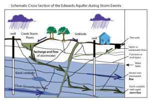 Schematic cross section of the Edwards Aquifer during storm events