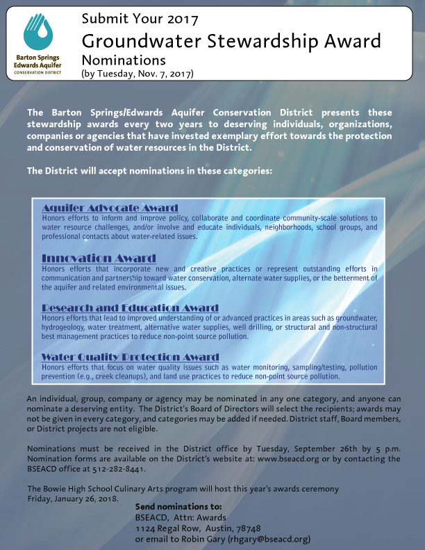 Groundwater Stewardship Awards - Barton Springs Edwards Aquifer